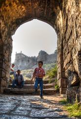 a boy enjoys himself at the Golkonda Fort in Hyderabad!