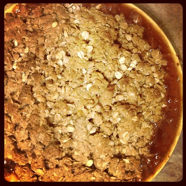 I have washed the dog, the laundry, the dishes and baked a bubbly #vegan apple crisp. I can haz pjs & book now?