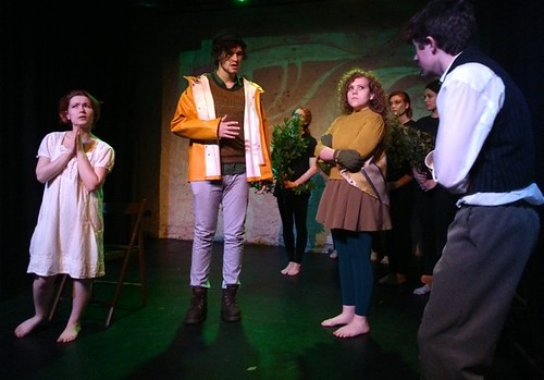 Cutty Sark (Izzy Hourihane), Ancient Mariner (Thomas Edward) and Jaberwocky (Grace Knight) are not impressed with Goblin (James Beagon)'s goblin pals in Goblin's Story. Photo © Charlotte Productions