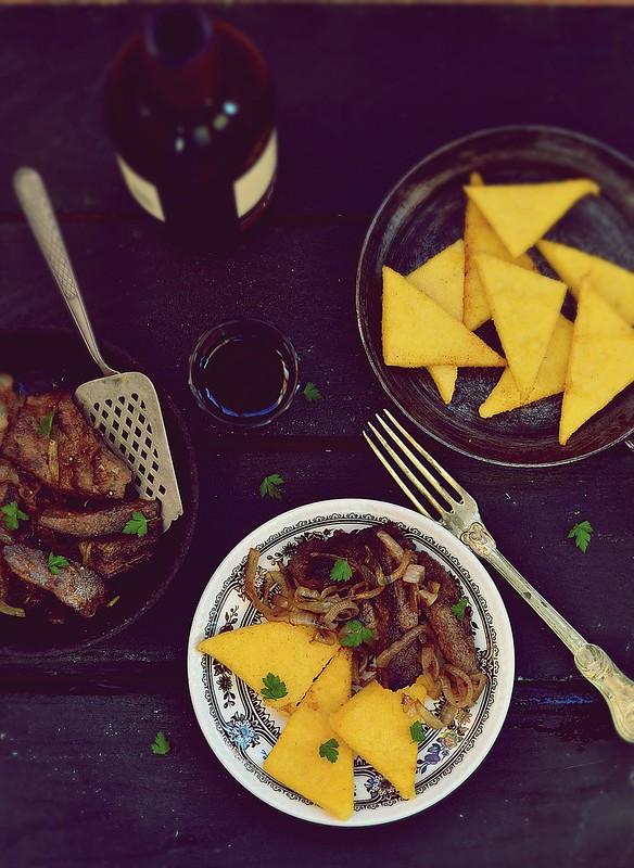 polenta and fried liver.2