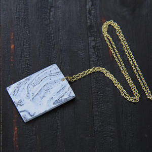 oven-bake clay faux marbled necklace