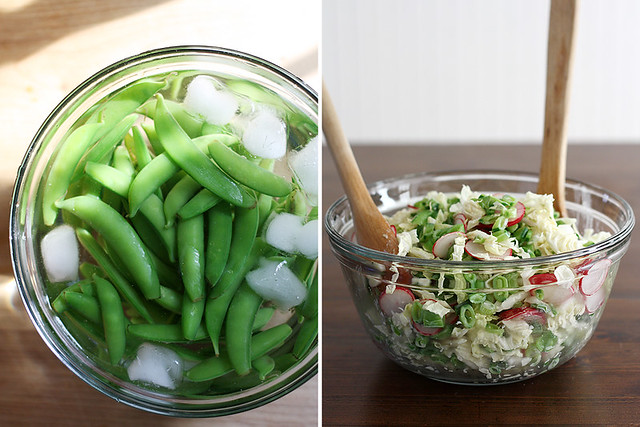 sugar snap pea salad with miso dressing