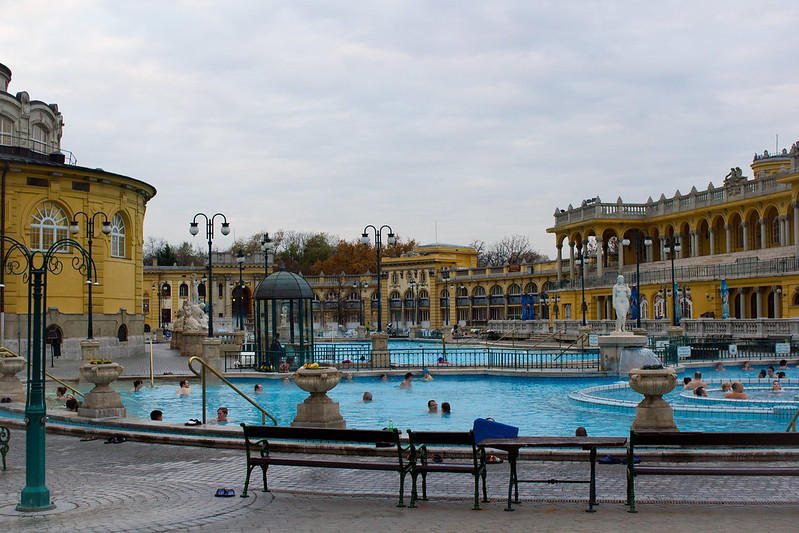 Friday, November 15: Utterly exhausted we deem our number one priority to be soaking in a thermal bath. Budapest has many of them but we chose the largest Hungarian style baths for our soaking - Szechenyi Thermal Baths.
