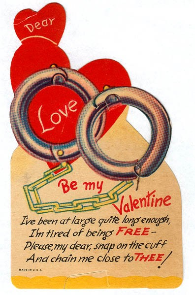 a retro valentine equates love and chains