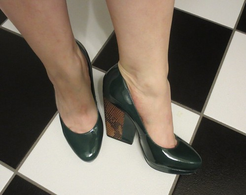 Dark green pumps