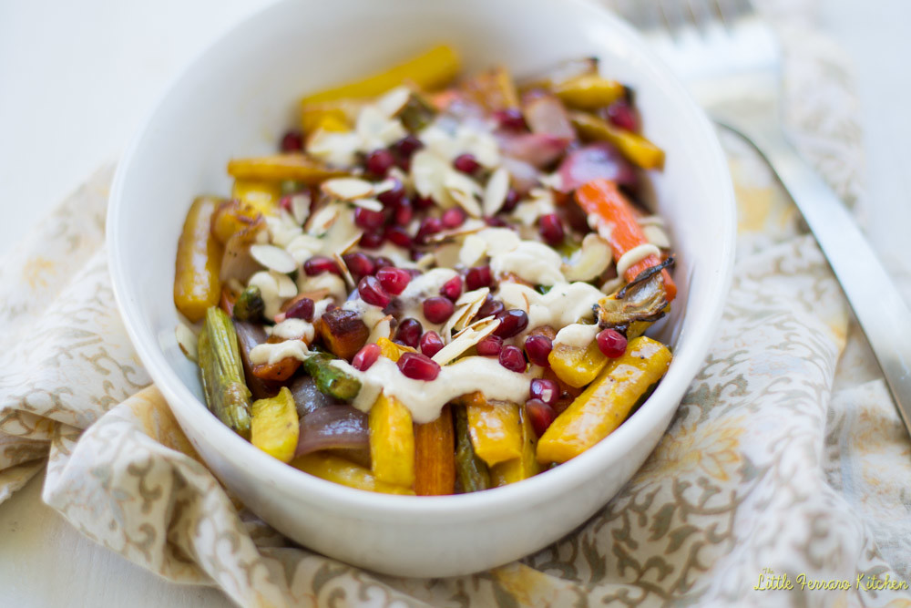 Pomegranate Roasted Vegetables with Tahini via LittleFerraroKitchen.com