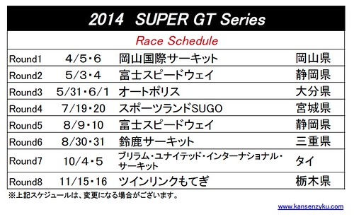 2014SGTレーススケジュール