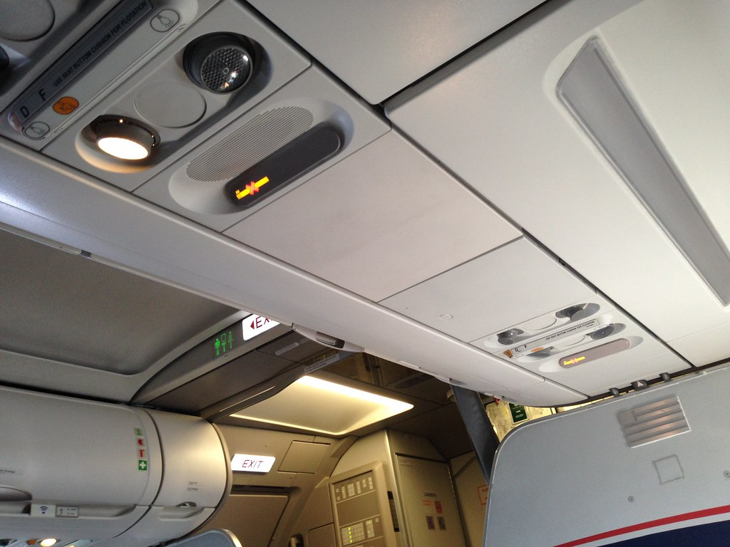 Overhead seat controls on the Airbus A319