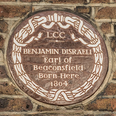 Photo of Benjamin Disraeli brown plaque