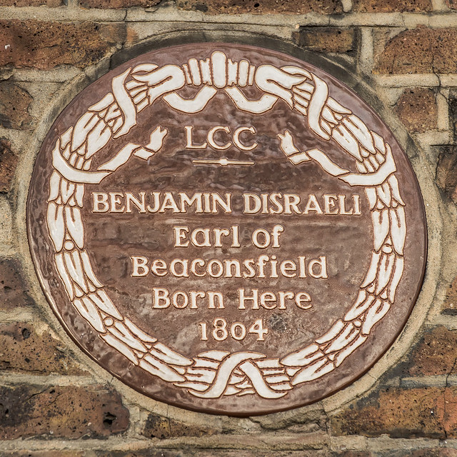 Benjamin Disraeli brown plaque - Benjamin Disraeli  Earl of Beaconsfield born here 1804