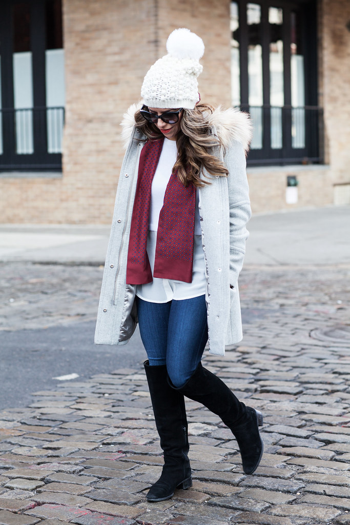 casual outfit jcrew parka grey coat jcrew silk scarf club monaco silk sweater pom pom hat white cream hat french bulldog new york city fashion blogger corporate catwalk blogger casual outfit for the weekend AG Denim jcrew outfit ideas zara suede boots prada sunglasses