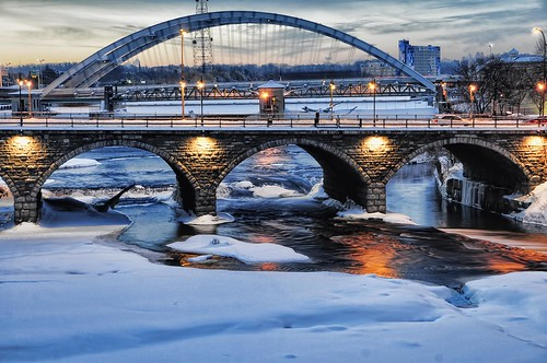 bridge winter usa snow newyork ice sunrise rochester geneseeriver courtstreetbridge
