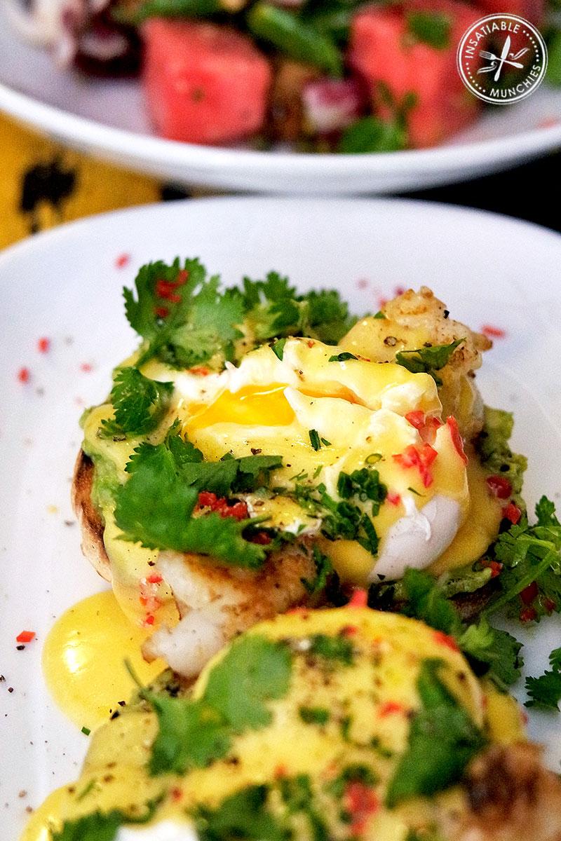 Oozing egg yolk from the bosphorus benedict