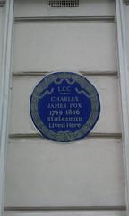 Photo of Charles James Fox blue plaque