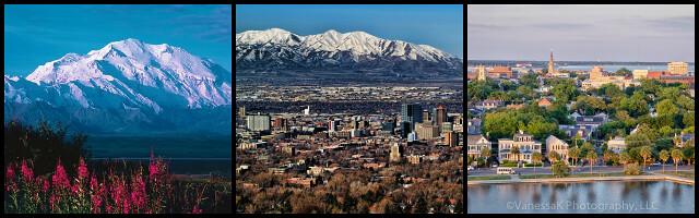 Mount McKinley, Salt Lake City, and Charleston