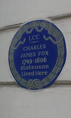 Photo of Charles James Fox blue plaque