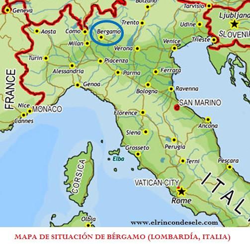 Mapa de situación de Bérgamo (Lombardía, Italia)