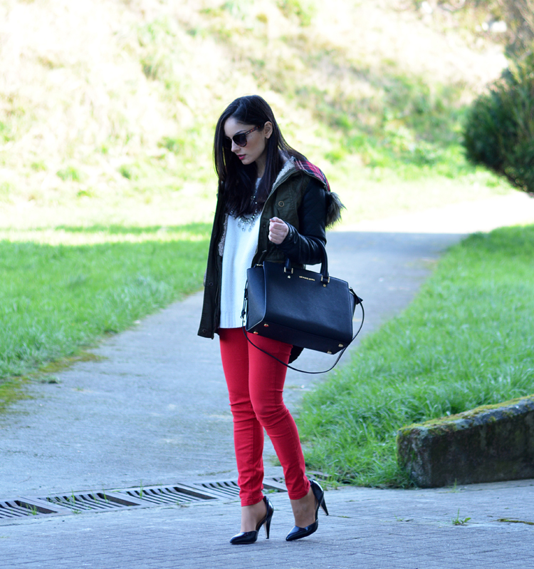 ZARA_ootd_chicwish_sheinside_parka_necklace_rojo_michael kors_07