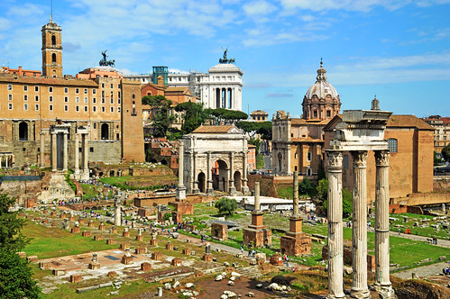 Looking towards the Arch of Septimus Severus