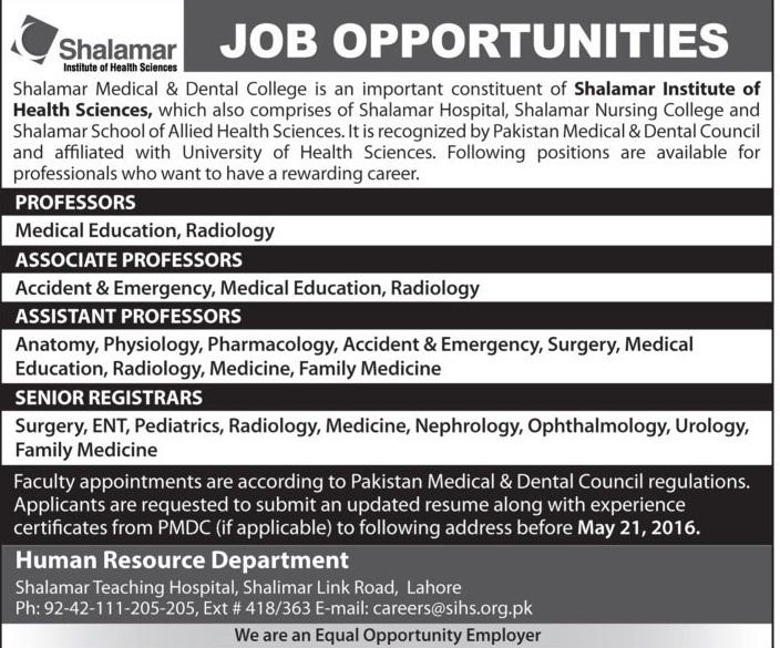 Shalamar Teaching Hospital Lahore Jobs 2016