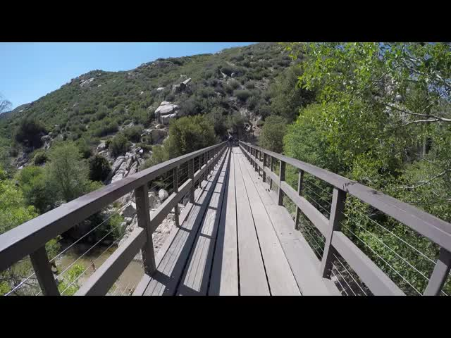 0764 GoPro video while crossing the metal bridge over Deep Creek on the PCT near Splinter's Cabin, at mile 298