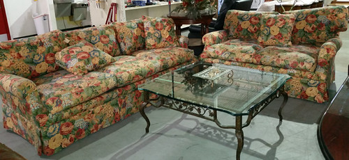 Floral couch $50, loveseat $40