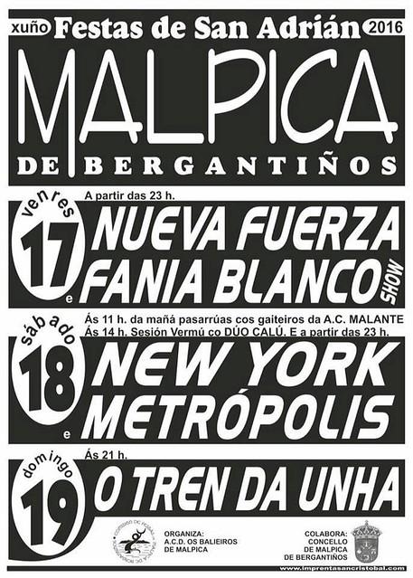 Malpica 2016 - Festas de Santo Adrián - cartel