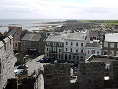 Scarlett peninsular and Castletown from Castle Rushen