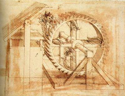 複数の弩を装備した歯車の素描