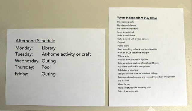 Afternoon Schedule/Independent Play