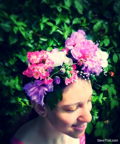 Magda Wearing The Finished DIY Floral Crown