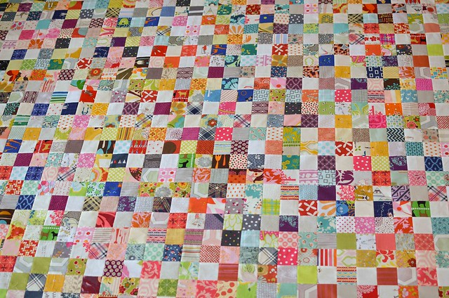 scrappy postage stamp quilt top