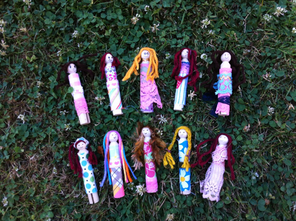 Pearl's and my clothespin dolls