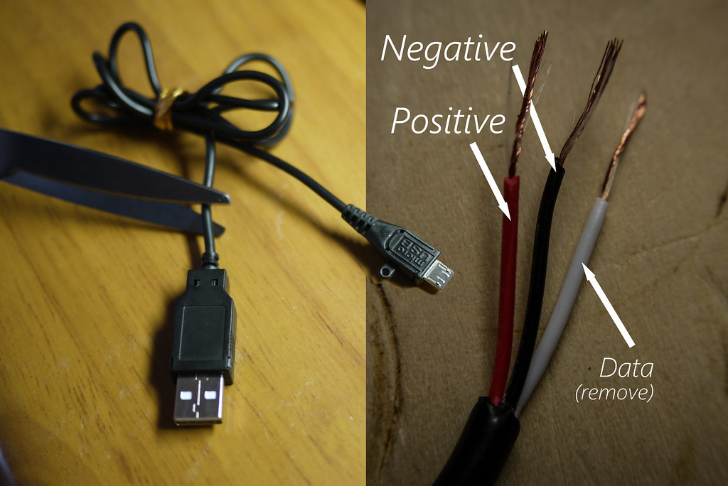 Micro USB inner wire colors (positive, negative, data)