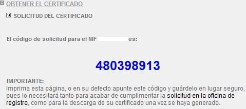 Imagen código del paso 1 en proceso certificado fnmt
