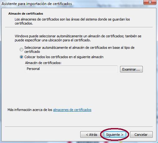 Imagen del asistente de importación certificados en IE