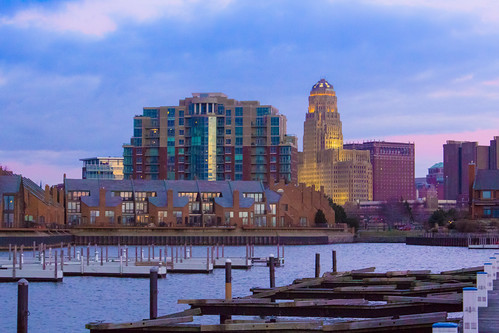 city blue winter sky urban art water skyline marina docks landscape dock buffalo downtown cityscape waterfront place purple cloudy cityhall condo pasquale deco condominiums eriebasinmarina waterfrontplace statlercity