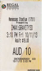 Gravity ticketstub