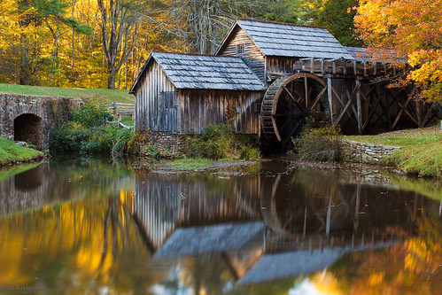 road park wood orange reflection building tree green fall mill water wheel yellow rock boston shop rural canon landscape paul eos virginia pond october unitedstates ridge national lee parkway 7d historical blacksmith filters polarizer tamron appalachia edwin watermill woodworking sawmill gristmill manfrotto mabry krugman 18200mm meadowsofdan 2013