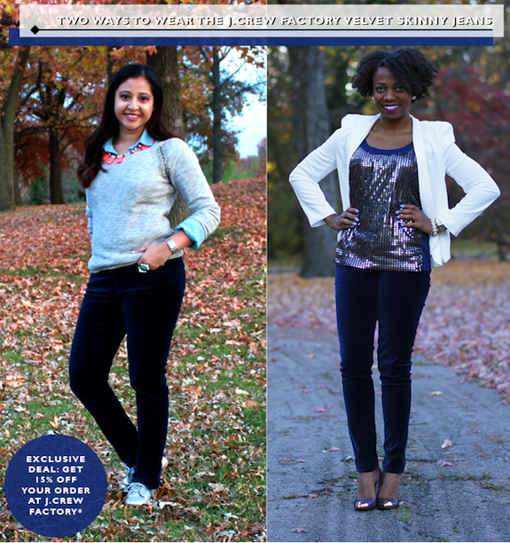 Two Ways to Wear JCrew Factory Velvet Skinny Jean collage
