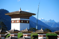 chortens at Dochula in Bhutan Himalayas
