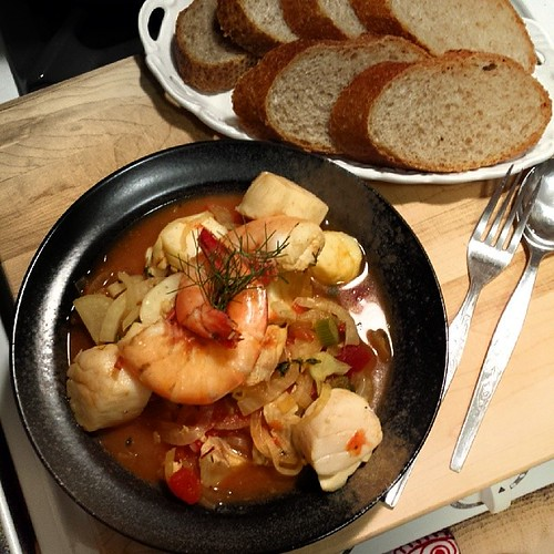 Market bouillabaise thanks to quick grocery run @wfmsquareone after work. Scallops, cod, shrimps.