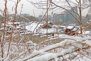 Image of Gyeonghuigung Palace. winter snow day korea seoul gyeonghuigungpalace jongnogu