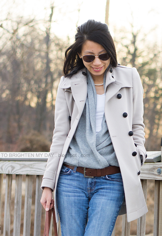 wool trench coat, gray open sweater, wide brown belt