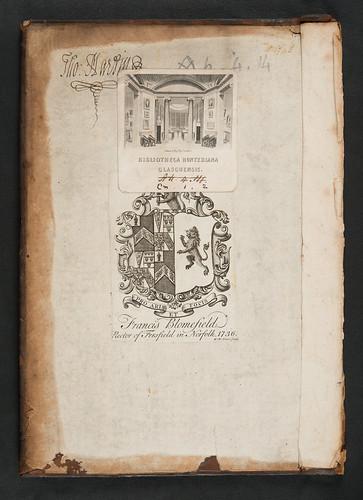 Armorial bookplate and autograph in Galfridus Anglicus: Promptorium puerorum, sive Medulla grammaticae