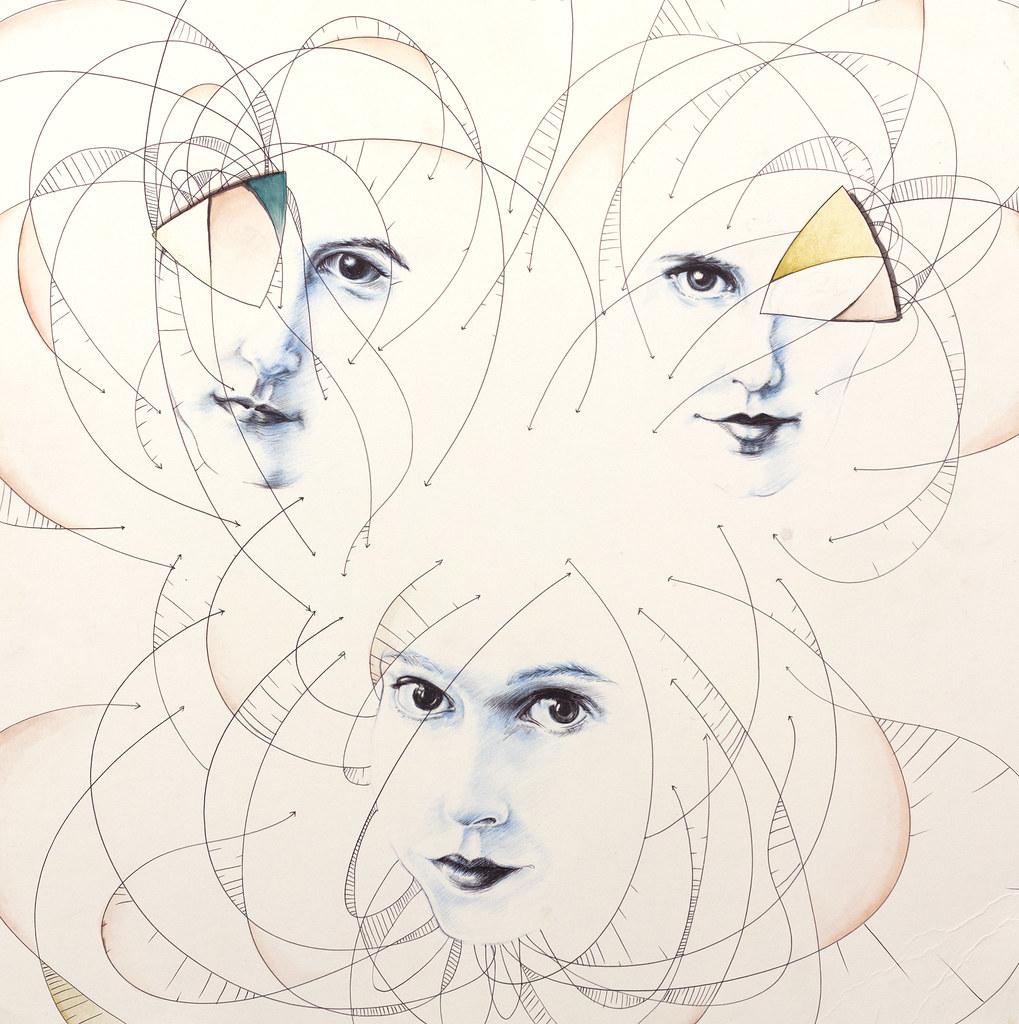 """Lauren Peck Bloom 24"""" x 24"""" Mixed Media, Pen, Graphite, Watercolor 2012"""