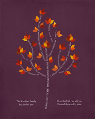 Family tree with names art plum purple white present day autumn leaves divorce
