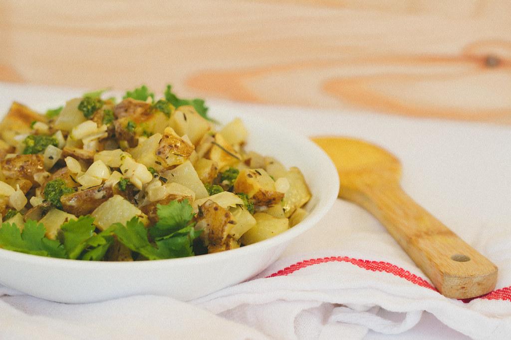 {herbed dijon potato salad with arugula-pistachio pesto} via chevrons & éclairs