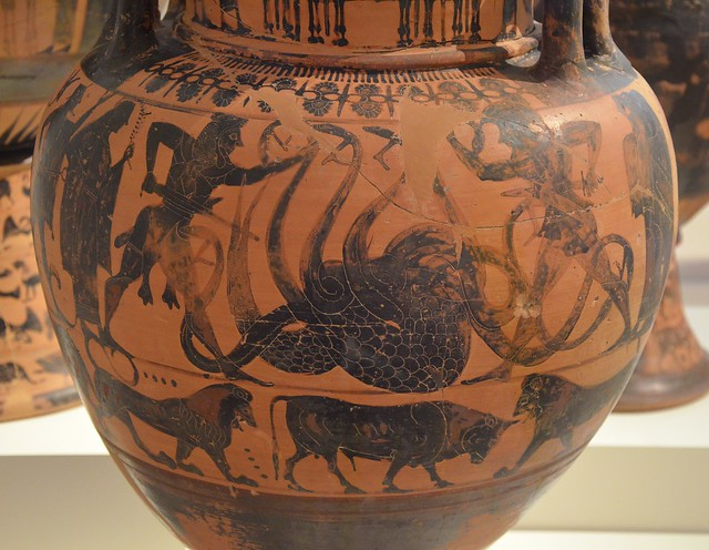 Attic black-figure amphora depicting Herakles killing the Lernaian Hydra with the aid of Iolaos, the fight is watched by Athena and Hermes, from Eretria, about 550 BC, National Archaeological Museum of Athens