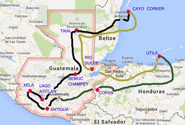 Guatemala, Belice y Honduras